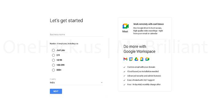 Sign up for Google Workspace