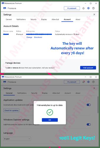 Mr.Brilliant $5 Malwarebytes Premium 1 Device + 1 Year Validity Auto-Renewal Keys
